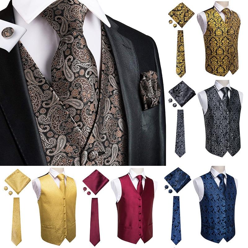 Роскошный черный мужской жилет Hi-Tie с пейсли-принтом, свадебные запонки, 100% шелковый жилет для мужчин, Золотой жилет, желтый классический жил...