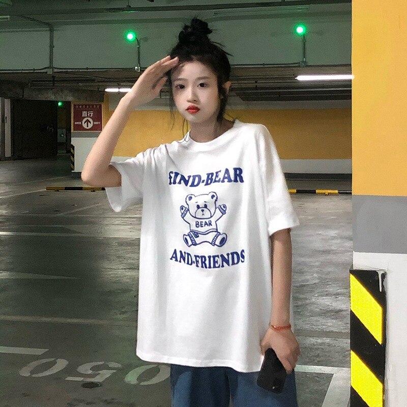 ساكورادا كاواشيما صيف 2021 جديد طالب تنوعا تي شيرت Ins الكورية نمط فضفاض الدب مطبوعة قصيرة الأكمام المرأة الموضة