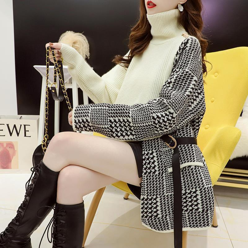 Large design stitching fake two turtlenecks women's autumn winter 2020 new loose and lazy style knitted coat enlarge