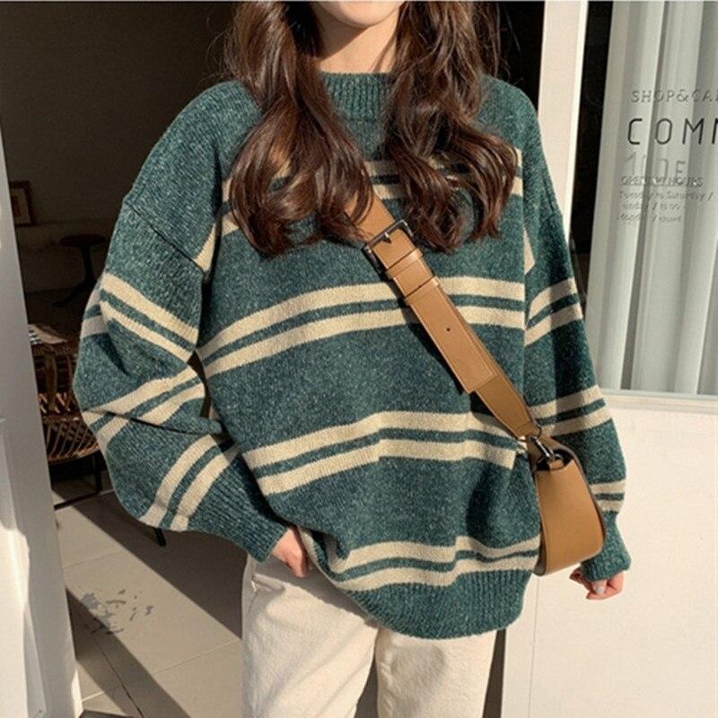 Suéteres tejidos de estilo coreano en 3 colores, suéter holgado de rayas de manga larga, suéter cálido para mujer, jerséis (N0021