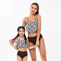 leopard mother daughter swimsuit family matching outfits mom baby mommy and me bikini dresses clothes beach women girls swimwear