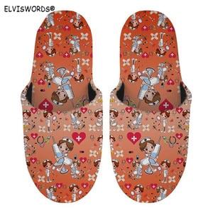 ELVISWORDS 2020 Women House Shoes Winter Warm Slippers Cartoon Nurse Printed Flannel Shoes Comfortable Soft Plush Slip-on Slides