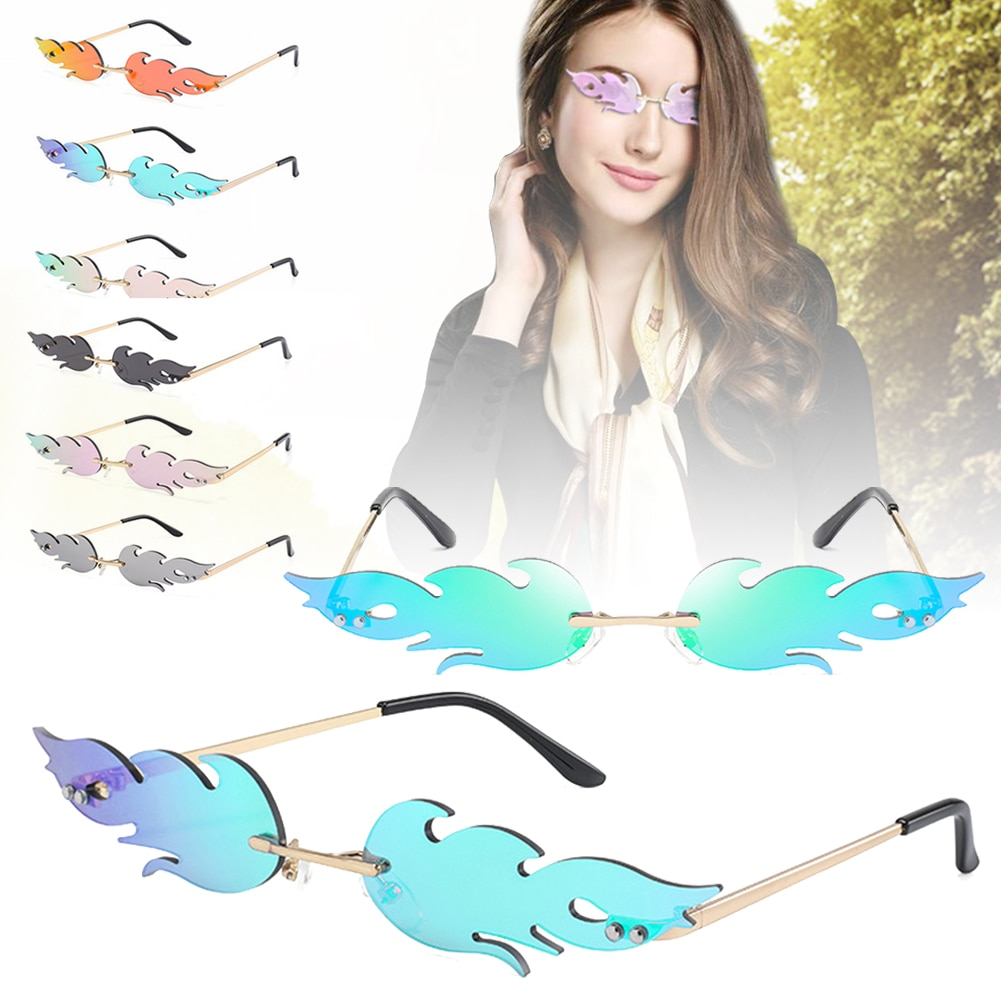 Rimless Wave Sunglasses Fire Flame Sunglasses Streetwear Car Driving Glasses Trending Narrow Fashion