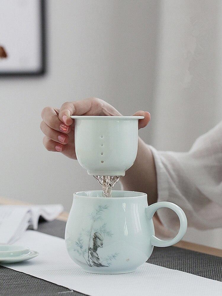 كوب شاي سيراميك مع غطاء مرشح كوب الشاي القدح المحمولة مكتب كأس كوب ماء هدايا عيد ميلاد وعطلة