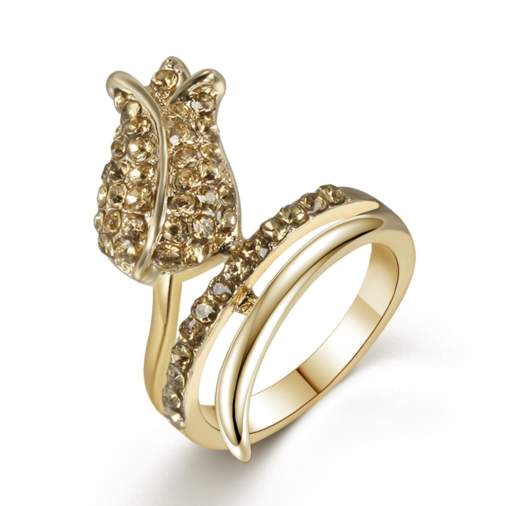 Clásico anillo de regalo para novia de moda Golden Tulip Glamour anillo personalizado estilo Simple joyería de las mujeres Pop anillo
