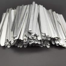 100 pçs/saco tiras de nariz de alumínio liso de metal adesivo ponte grampos de fio laços para diy máscara que faz 85x5x0.5mm em estoque