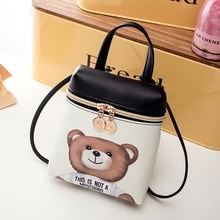 Women's Handbag New Casual Cartoon Female Messenger Shoulder Bags Cute Crossbody Fashion Leather Bags Mini Bear Mobile Phone #10