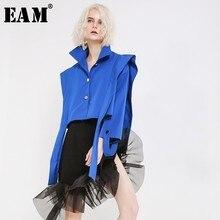 [EAM] Loose Fit Blue Ribbon Short Big Size Jacket New Lapel Long Sleeve Women Coat Fashion Tide Spring Autumn 2020 JH360