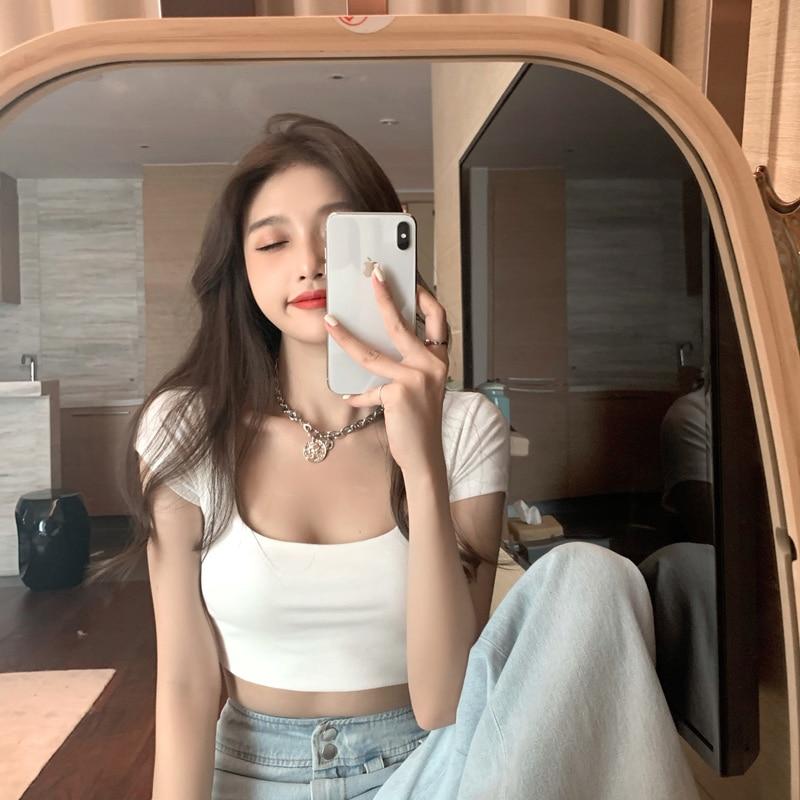 Camiseta de manga corta negra para mujer, ropa de estilo coreano, diseño...