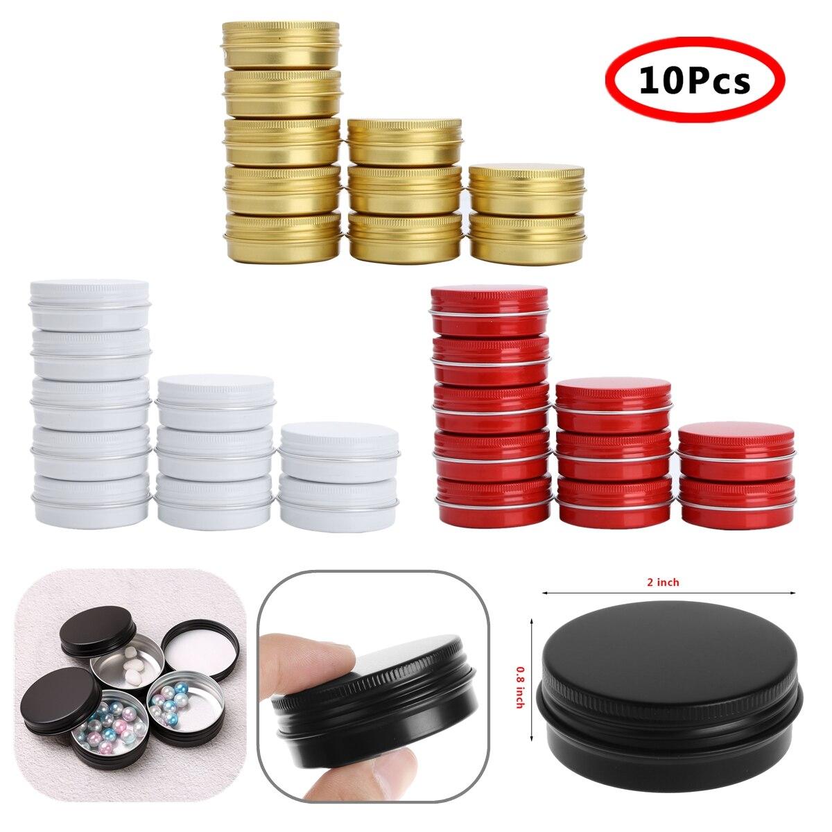10 Uds de aluminio de 30ml frascos de lata de Metal redonda contenedor con tapa de rosca, latas de muestra cosmética contenedores vela de latas jarra de almacenamiento para té