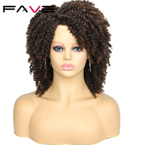 FAVE Black Brown Afro Kinky Curly Wigs Synthetic Hair Afro Curly Heat Resistant Fiber Full Hair for Black Women
