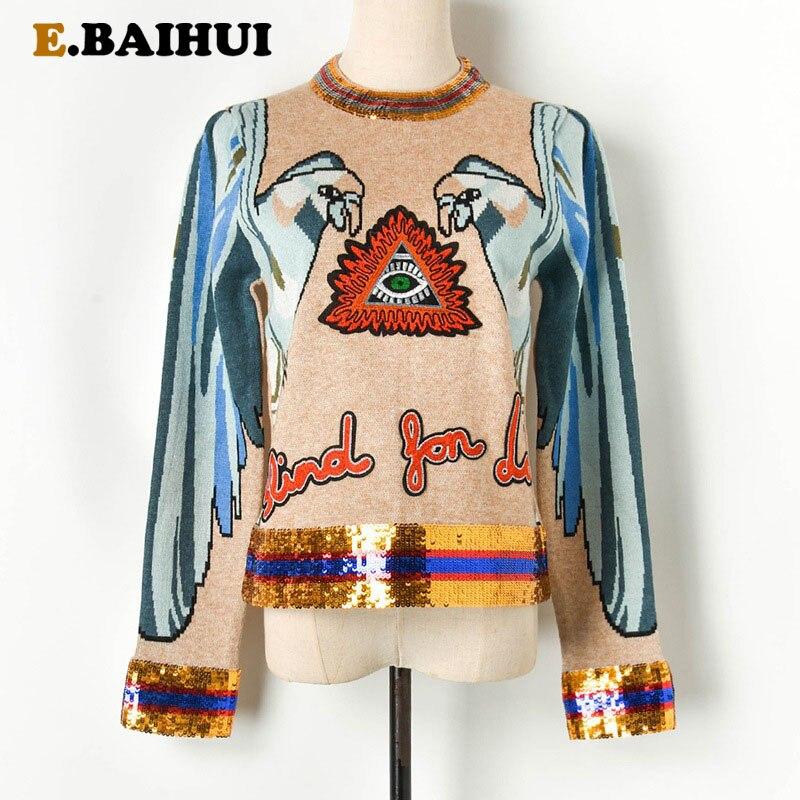 EBAIHUI-سترة نسائية سميكة مطرزة ، نمط عيون الببغاء ، سحاب ، كنزة نسائية ، رقبة مستديرة ، سترة غير رسمية فضفاضة