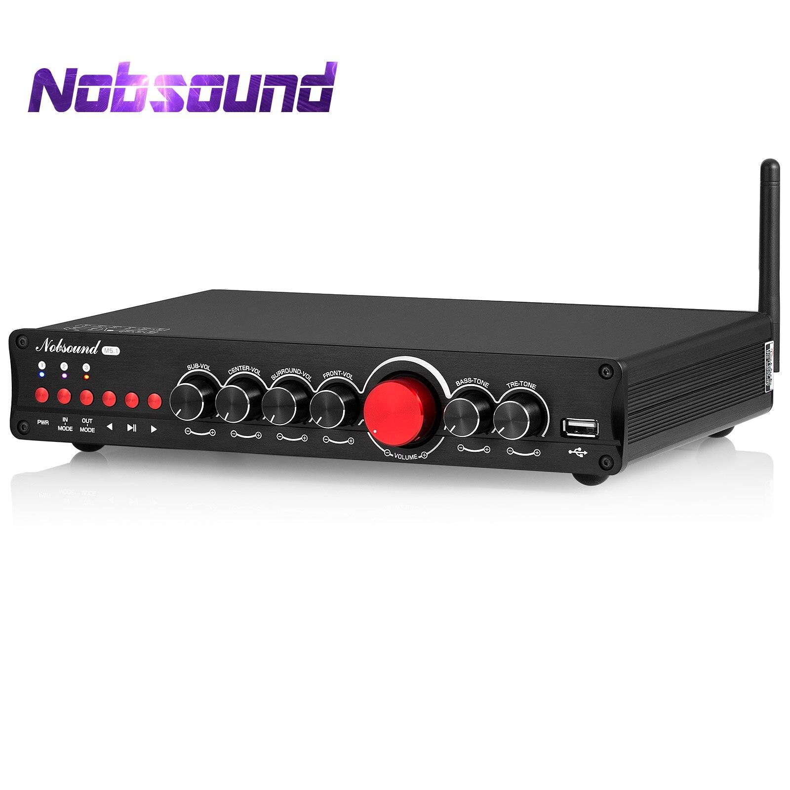 Nobsound HiFi 5.1 قناة بلوتوث مضخم رقمي اقناع/OPT المسرح المنزلي الصوت أمبير USB مشغل موسيقى باس أمبير APTX-HD