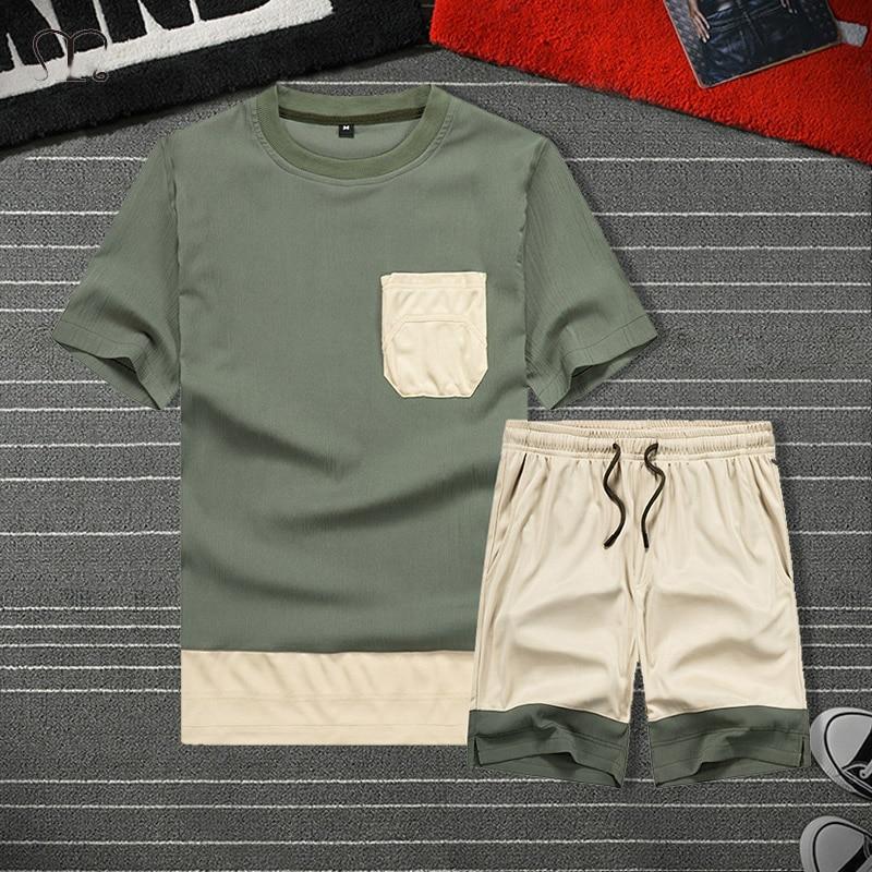 Männer Sets 2 Stück T Shirt Jogginghose Track Anzug Shorts Jogger Lässige Männer Sportswear-Set Marke Kleidung oversize
