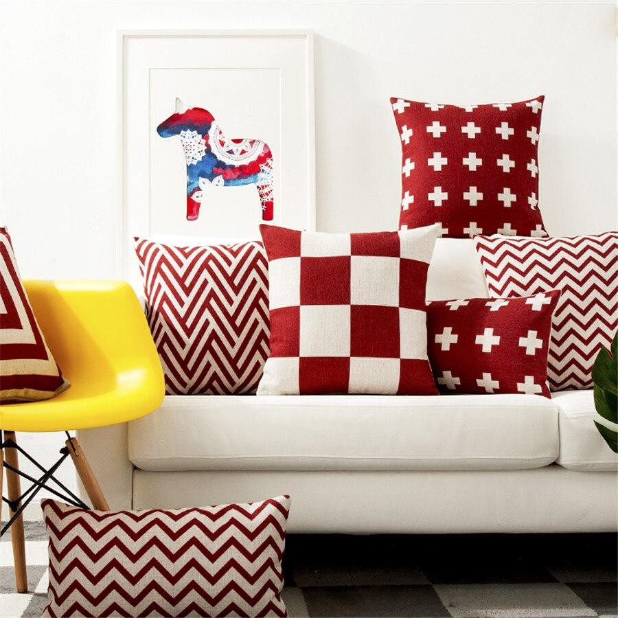 Ensemble carré de coussin, housse de coussin, taie doreiller coton et lin rouge, décoration taie doreiller pour canapé et maison