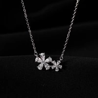 double flower zircon necklace female simple sweet style clavicle chain necklace women korean version fashion minimalist jewelry