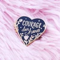 beautiful courage flowers hard enamel pin fashion blue heart shaped golden brooch pastel flowers grass plant badge jewelry