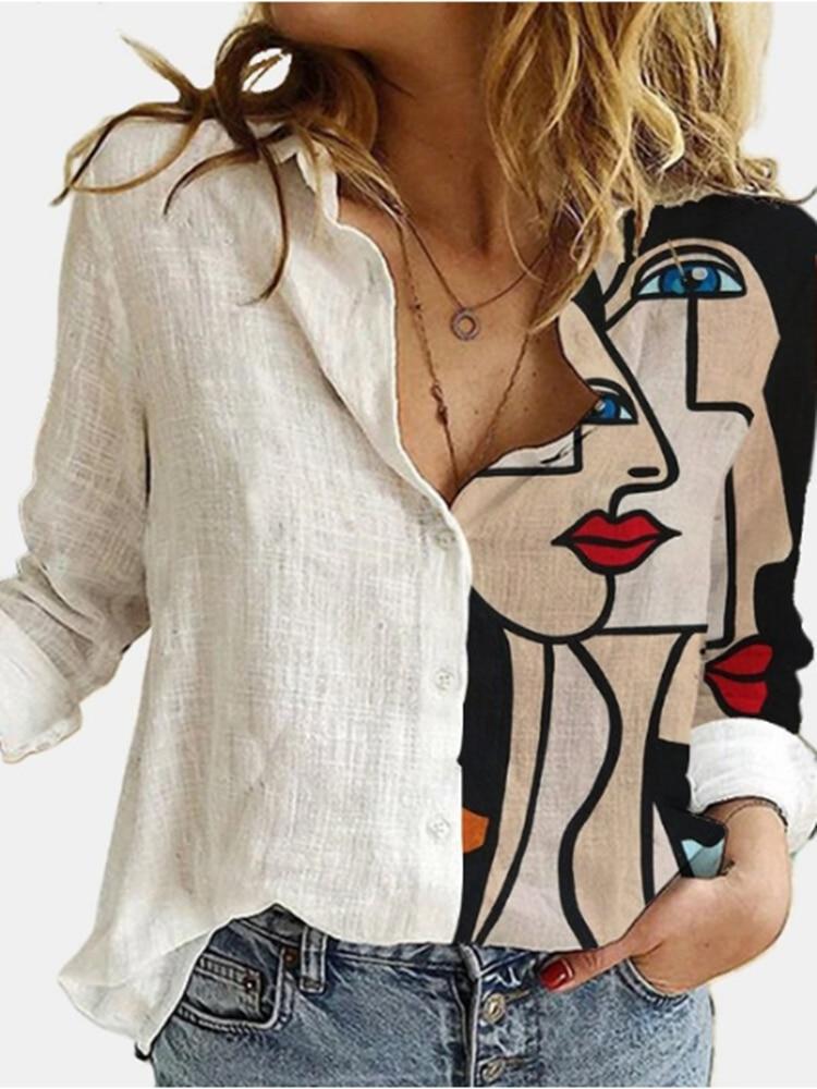 блузка женская Oversized Street Style Women'S Shirt 2021 Spring Summer Long Sleeves Single Breasted Printed Blouses Female Top