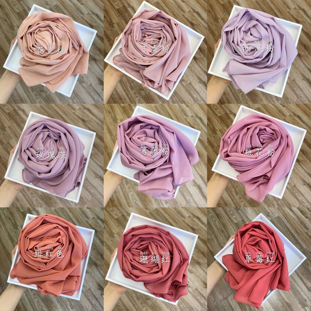 Chiffon Hijab Scarf Women Muslim Fashion Hijabs Head Scarf Wrap Shawl Scarves for Ladies Hoofddoek Foulard Voile Femme Musulman
