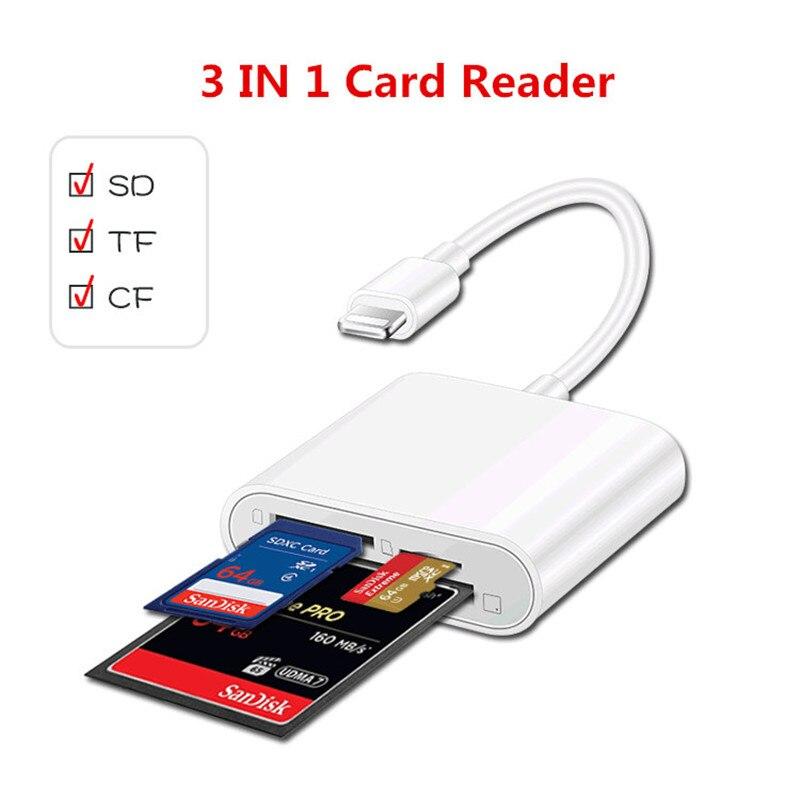 Lector de tarjetas OTG 3 en 1 Lightning a tarjeta TF tarjeta SD CF lector de tarjetas adaptador para iPhone 7X8 iPad