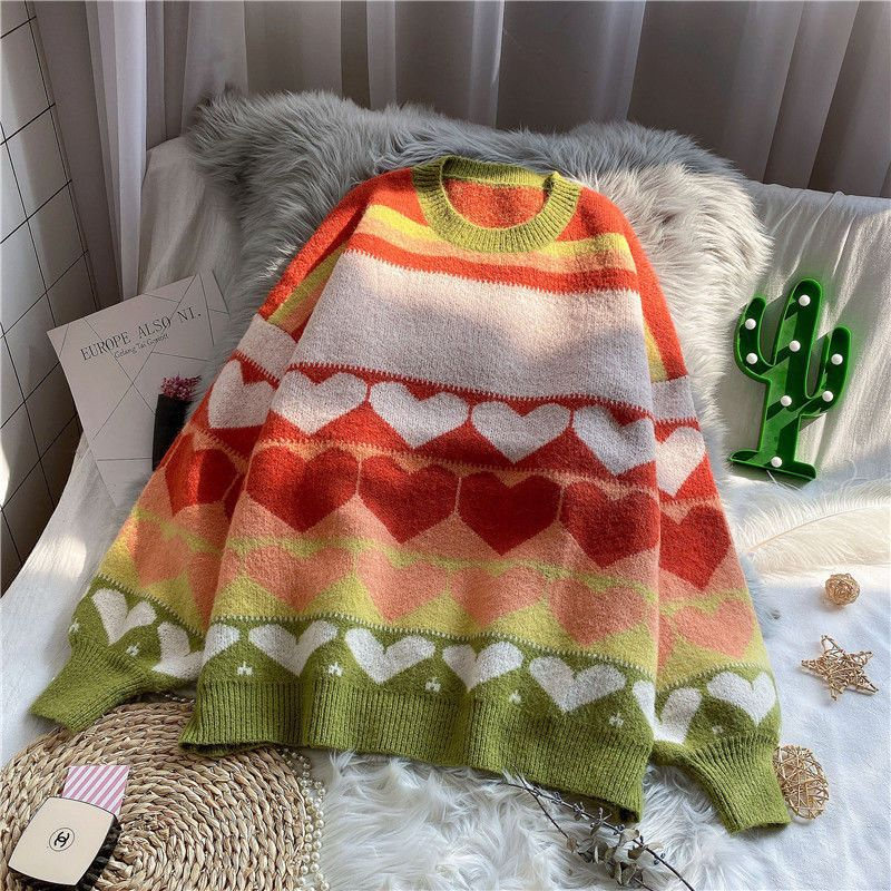 Women  Pullovers Sweaters Sweet knitted Autumn New Girl Korean Style Loose  O-Neck Long Sleeve enlarge
