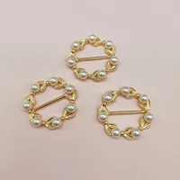5 pcslot fashion round pearl rhinestones buckles hair bag shoes diy wedding card ribbon buttons handmade jewelry accessories