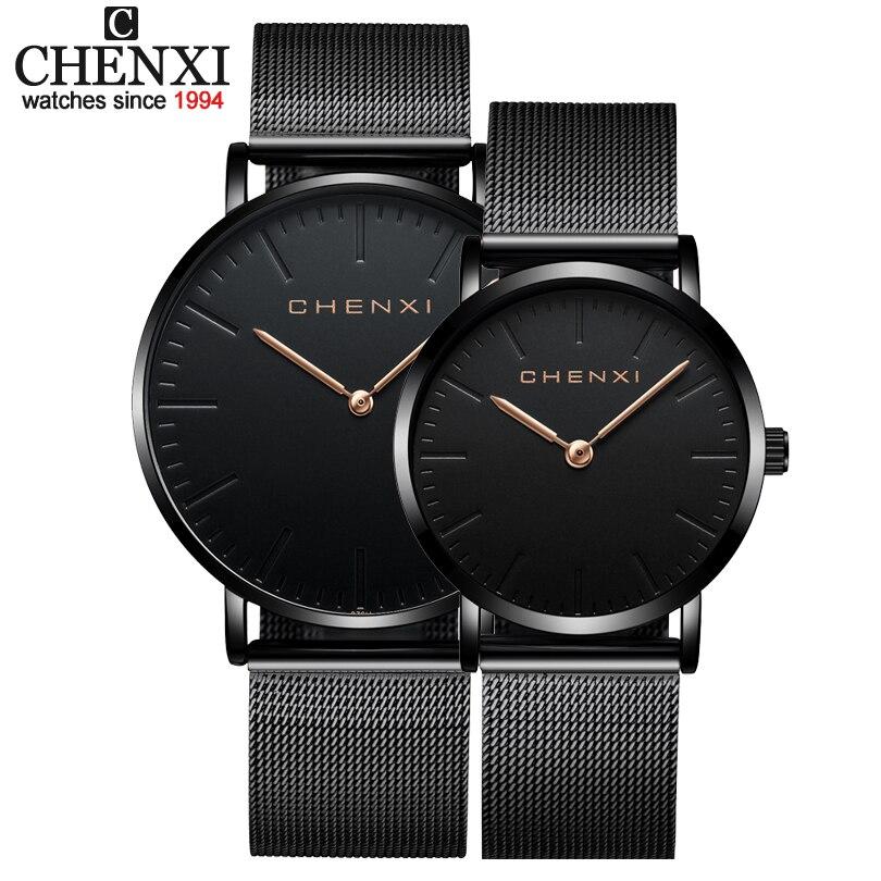 Amantes da Moda de Luxo da Marca Relógios de Pulso para Mulheres dos Homens Relógio de Pulso de Quartzo Chenxi Assistir Preto Casual Malha Strap Relógios Ultra Finos