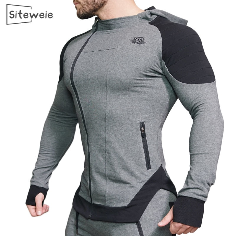 SITEWEIE Muscle Fitness Men's Sports Suit Cotton Hoodies Men Sweatshirts Gym Training Hoodies Joggers Clothes Sweatpants L390