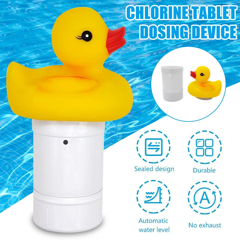 Flotador dispensador químico flotante de pato bonito para piscina dispensador de pastillas de cloro TUE88