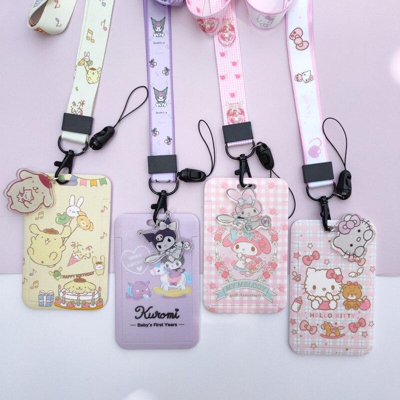 Kawaii Kitty аниме мультфильм школьный автобус проезд Держатель смарт-карт со шнурком фото держатели Keycard сертификат брелок moнагрудная карта