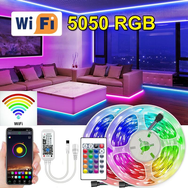 Tira de Luces Led RGB con Wifi 5050, cinta de diodos con...