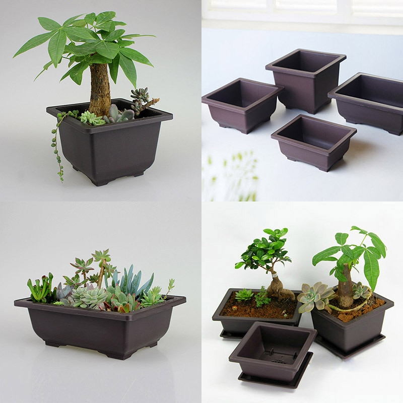 Imitation Purple Sand Flower Pots Corrosion Resistant Breathable And Fleshy Square And Rectangular Plastic Flower Bonsai Plant