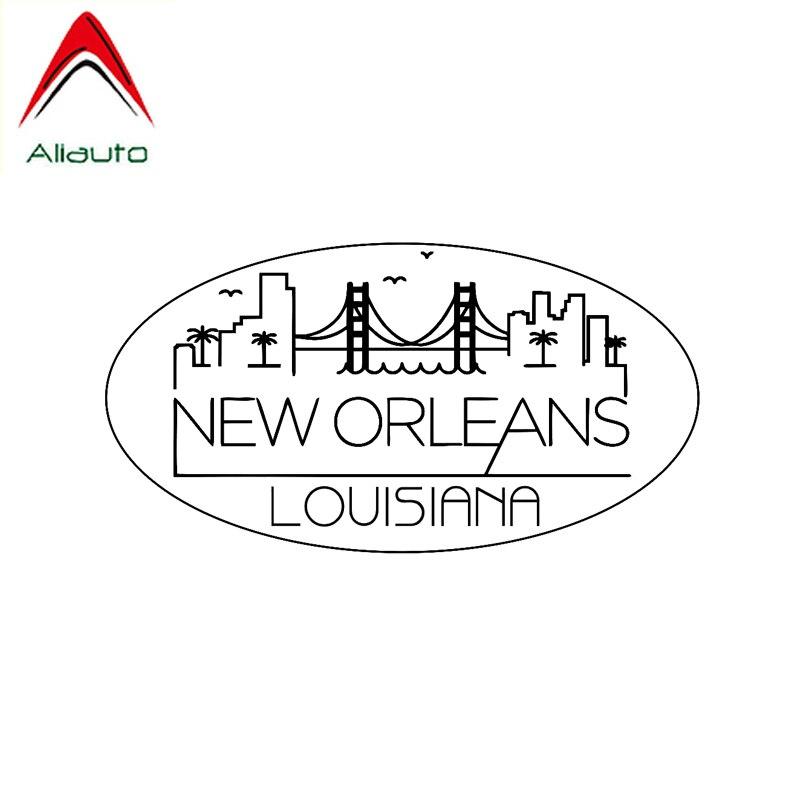 Aliauto calcomanía del coche de personalidad Nueva Orleans Louisiana Oval vinilo protector solar impermeable anti-UV negro/plata 17cm * 9cm