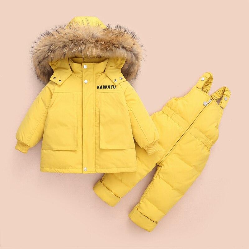 2 قطعة مجموعة طفلة سترة شتوية و بذلة للأطفال رشاقته الدافئة الفراء طوق سترة للفتيات الرضع snowsuit 0-4Year