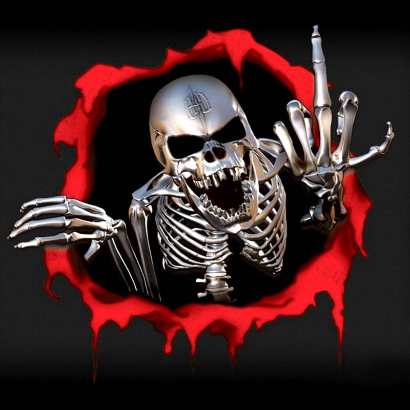 15*14Cm 3D Skeletschedel In De Kogel Gat Auto Stickers Grappige Kleurrijke Auto Stickers Auto Auto Decals