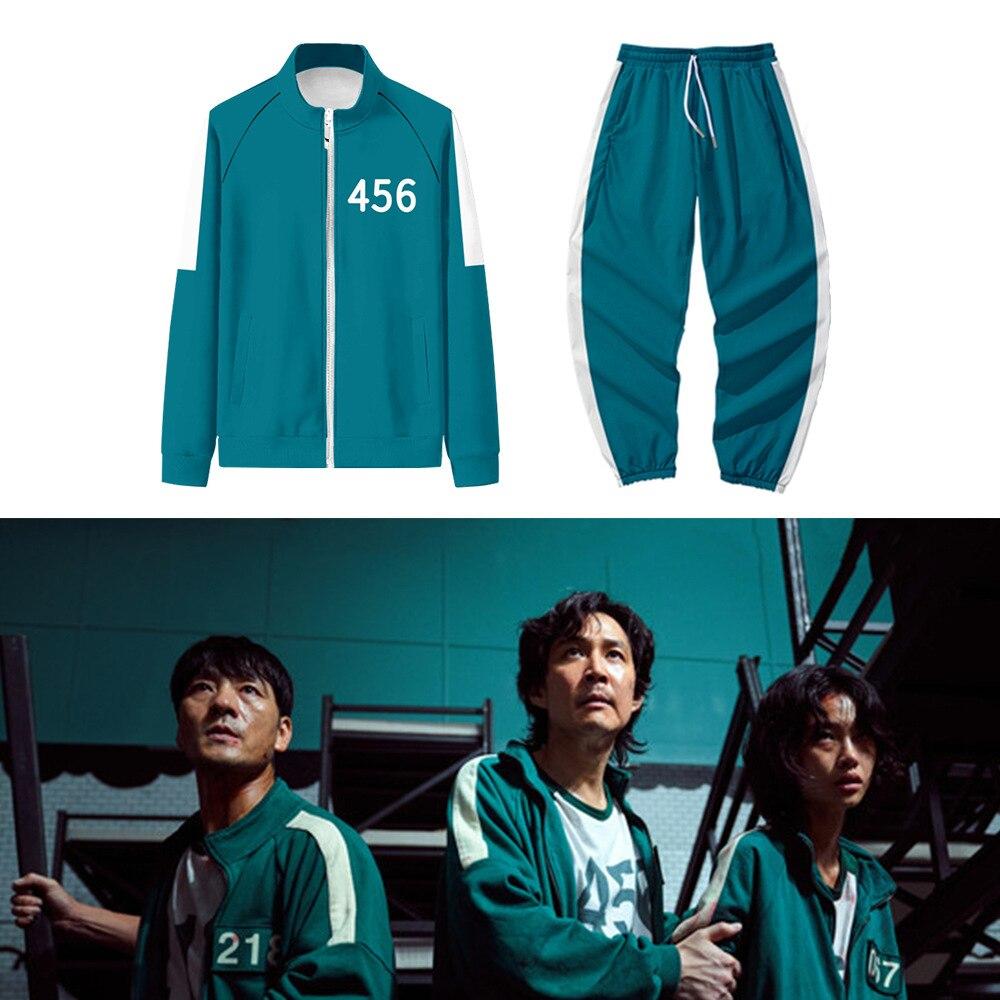 Roupa Completa e Jaqueta Gi-hun Sang-woo Round 6 Número 456 218 067 001 Verde da Série