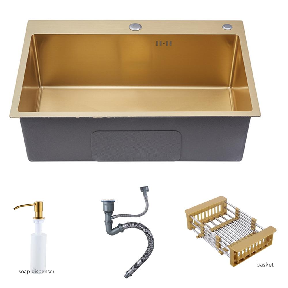 أحواض مطبخ ذهبية 530x430 فوق سطح المغسلة حوض غسيل الخضروات 304 وعاء واحد من الفولاذ المقاوم للصدأ