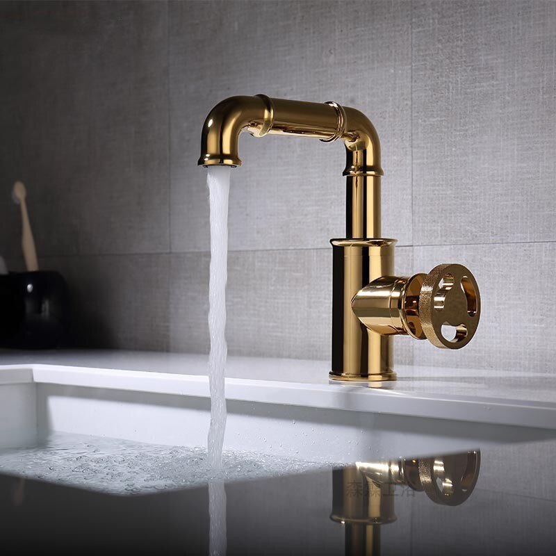 Estilo Industrial 100% Latón dorado grifo de baño caliente fría mezclador para lavabo mango redondo agujero de calidad superior grifo