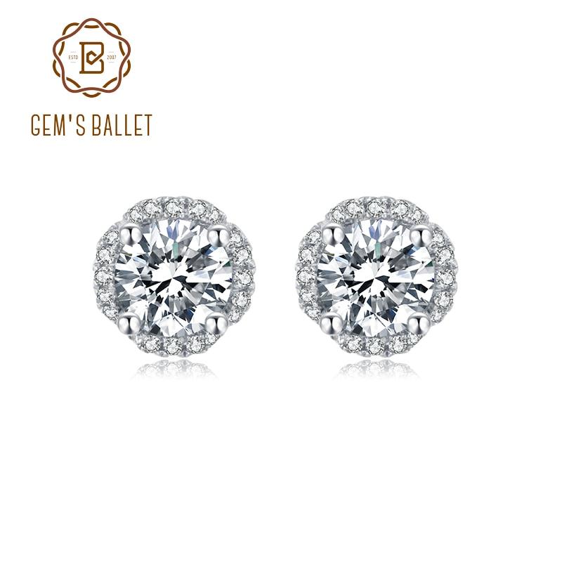 GEMS BALLET, de joyería de plata de ley 925 moissanita, pendientes de tuerca de diamante de Color D de 5,0mm 1.0Ct para boda de mujer