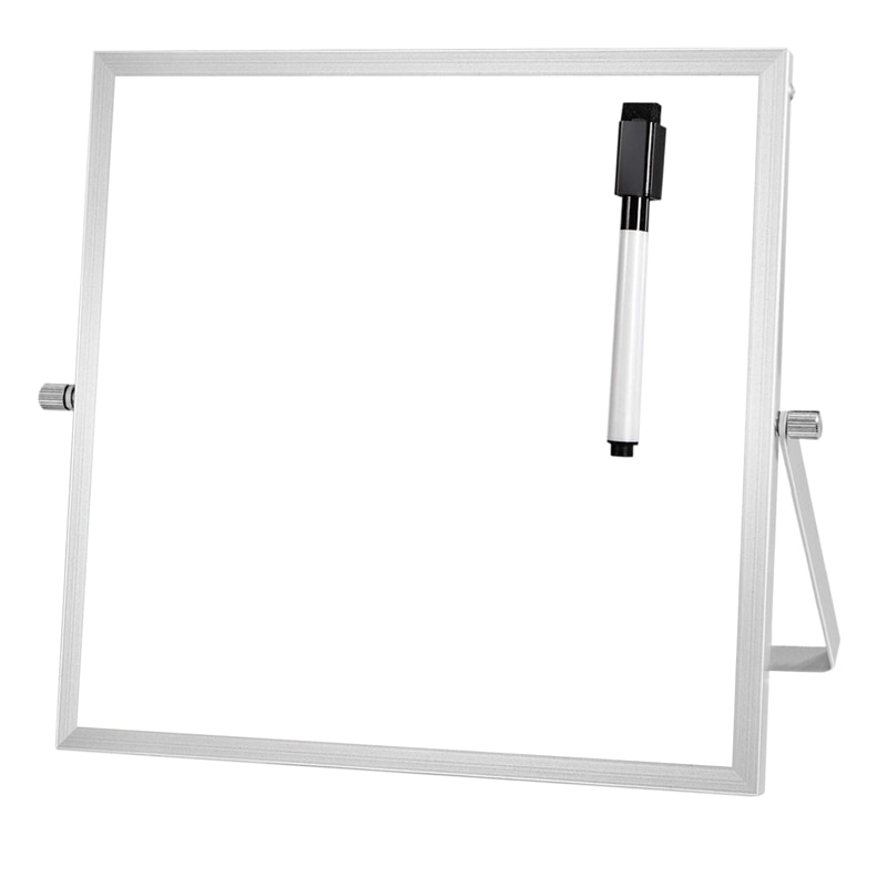Pequeña pizarra con soporte de 10 pulgadas X 10 pulgadas Mini magnética blanca Junta caballete para niños de doble cara portátil Mesa Deskto