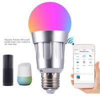 7W WiFi Smart Bulb E27 B22 E14 Alexa Voice Control RGB Colorful Smart WiFi Light Bulb Work With Alexa Google Wake Up Light New