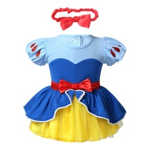 Infant Baby Girls Costumes Dress Bowknot Bodysuit Romper Dress with Headband for Role Play Halloween