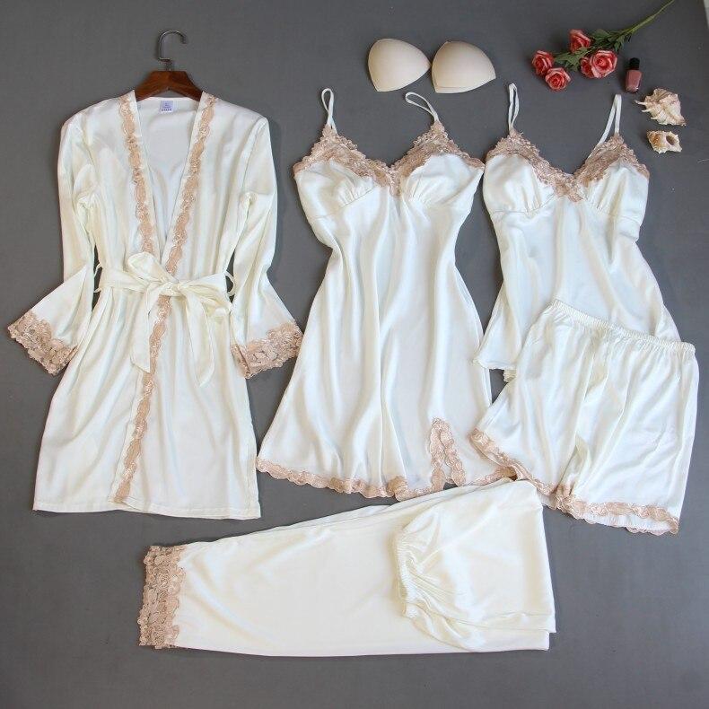 Robe Sets 5 Pieces Robe+Nightdress+Top+Shorts Silk Satin Bathrobe Set Summer Sleepwear Lace Nightwear Set For Women Pijama Mujer