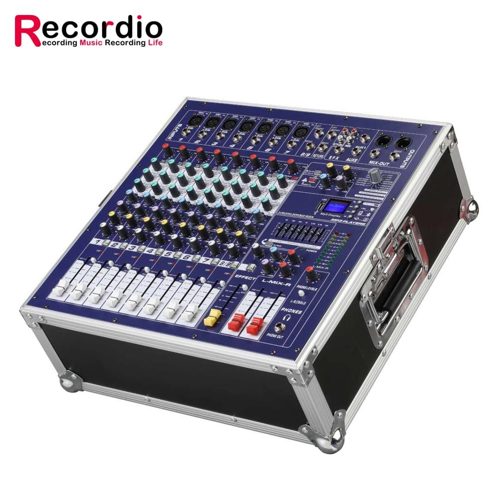 GAX-960E DJ خلاط 8 قناة USB Blueteeth خلط تعزية عالية الطاقة الصوت المرحلة معدات 48V السلطة الوهمية DSP الآثار الرقمية