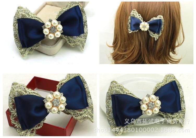 Korean bow hair clip top clip Korean headdress edge clip ribbon lace pearl duckbill clip hair ring spring clip handmade HDJ015