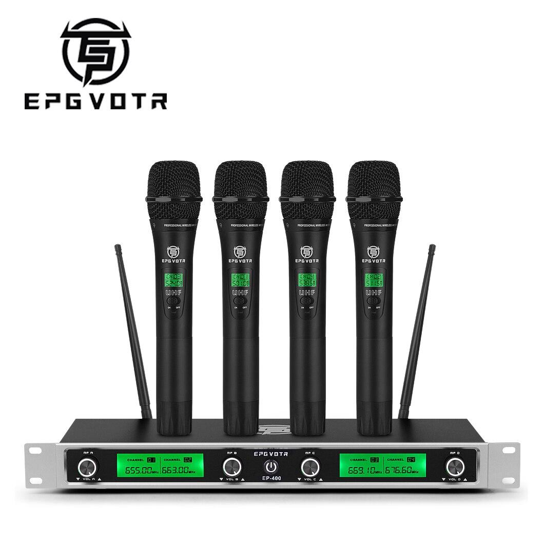 Conjunto de Microfone sem Fio Transmissores para Festa Freqüência Fixa Canais Handheld Microfone Bodypack Casamento Igreja Karaoke Ep400 Uhf 4