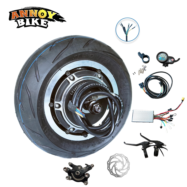 10 Motor de cubo pulgada 48V 1500W motocicleta eléctrica Motor Buggy sin engranajes Kit eléctrico Kit de Bicicleta eléctrica sin escobillas Bicicleta Scooter