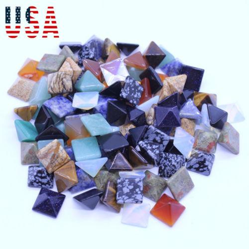 Limit 100 10 Chakra Pyramid Worry Stone Set Pranic Healing Meditation Lot Natural Crystal