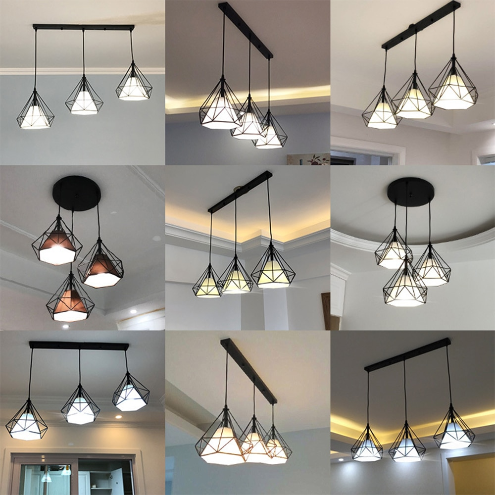Vintage Modern 3 Head Pendant Light Loft Industrial Hanging Lamp Shade Adjustable Lighting for Living Room Kitchen Decor