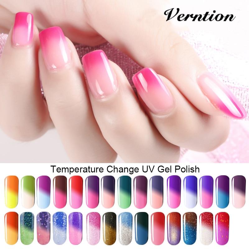 Verntion 8ml Soak Off Temperature Change Color Gel Nail Lacquers Long Lasting Thermo UV Gel Hybrid Nail Gel Varnish Nail Art Set
